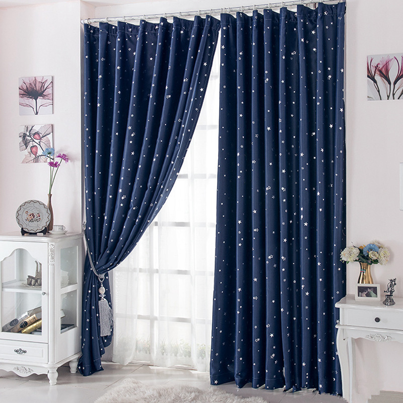 1Pcs Curtain 95% Blackout Cortinas Para Sala For Living Room Flat Window  Curtains Drape Rideau Finished Product Navy Blue 1 Pcs In Curtains From  Home ...