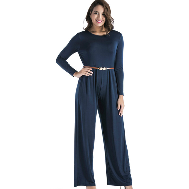 64b16ec7121e4 2018 long sleeve autumn jumpsuit plus size 3xl loose Female jumpsuit wide  leg women clothing nude blue purple black red overalls