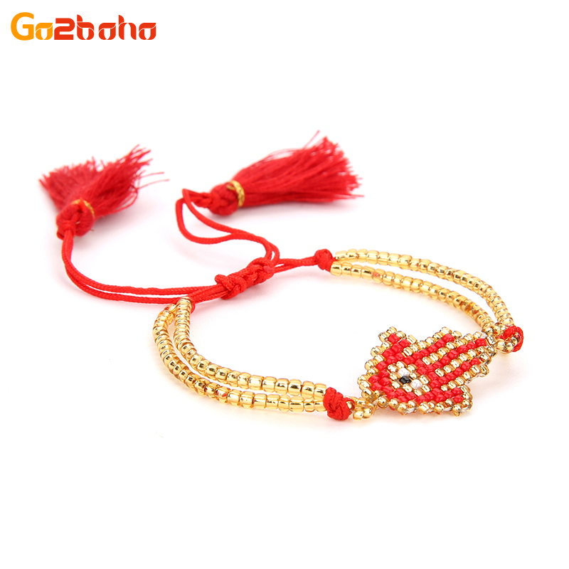 Popular Fatimas Red Gold Bracelet And Get Free Shipping
