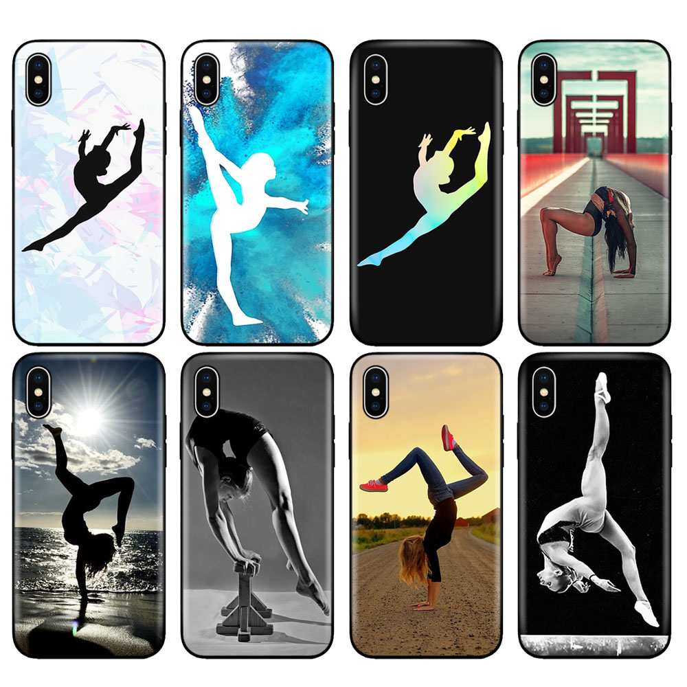 Black tpu case for iphone 5 5s se 6 6s 7 8 plus x 10 case silicone cover for iphone XR XS MAX case <font><b>gymnastics</b></font> silhouette image