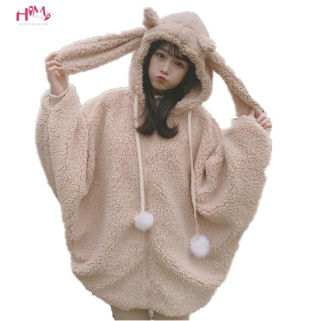 bc22d633ae Winter Women Kawaii Thicken Coat Japanese Cute Rabbit Lolita Warm Outerwear  Jackets Soft Fluffy Fleece Bunny