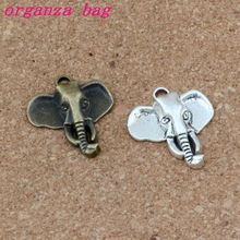 Elephant head Charms Pendants 100Pcs/lots 22.8x26.2mm Antique silver/ bronze Alloy Fashion Jewelry DIY Fit Bracelets