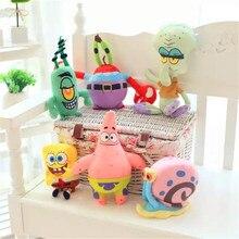 6pcs/set Anime Cartoon Movie SpongeBob Patrick Star Squidward Tentacles Stuffed Plush Toys Christmas Birthday Gift Toys For Kids цена и фото