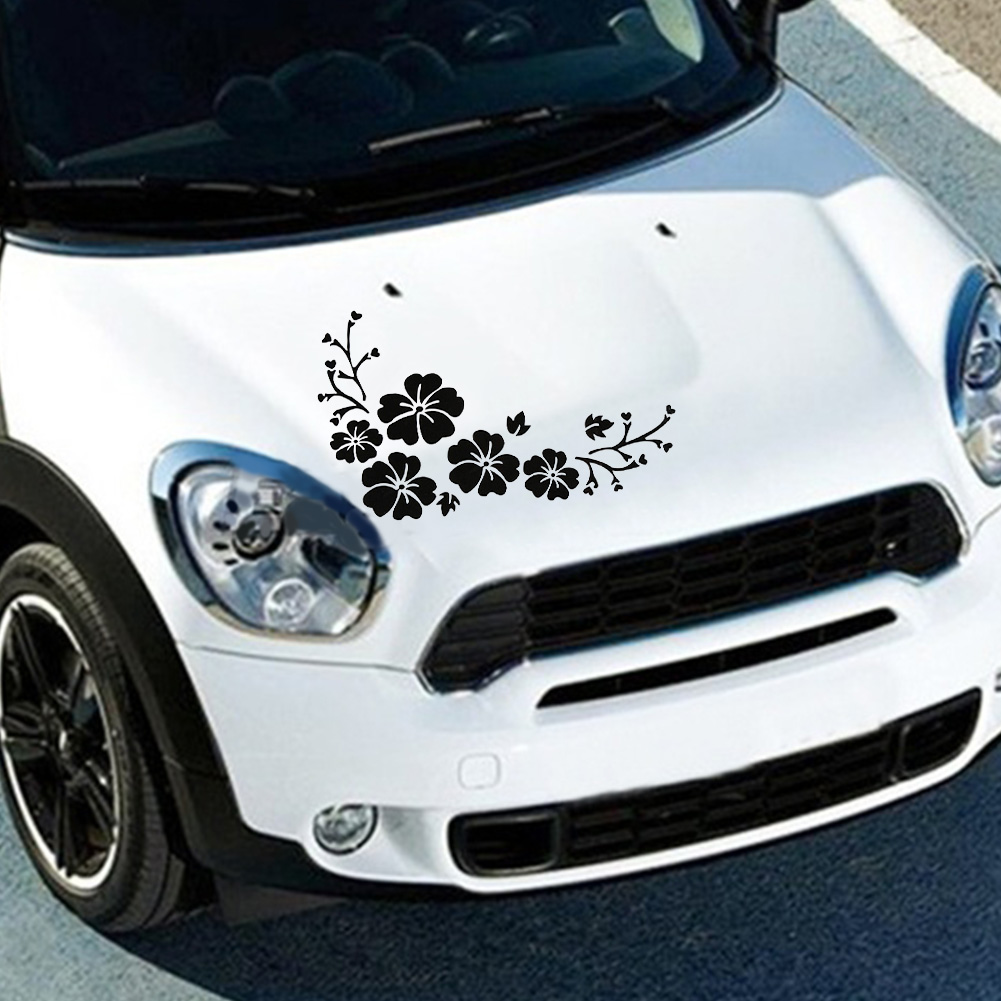 Car sticker design maker - Car Styling Lovely Flowers Decorative Laminated 30x14cm Car Sticker Front Bumper Cover Scratches Decals Bumper Sticker Hot Sale