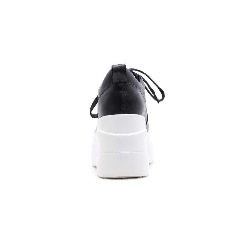 Plate blanc Femmes Vulcanisé Jusqu'à Talons Cuir Dentelle La Véritable Haute forme Mouvement Chaussures Lenkisen Noir Britannique Style Étrange En L1f1 Talon Super pqSUVzM