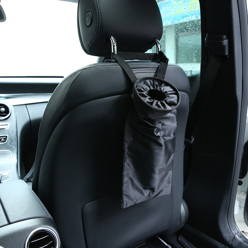 Portable Auto Car Environmental Garbage Bag Car Seat Back Storage Trash Bag Oxford Material Headrest Built-in Pocket