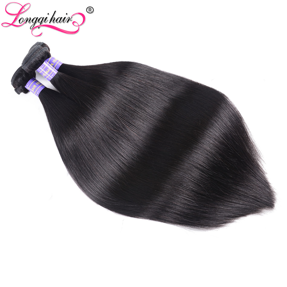 Longqi Hair Malaysian Straight Hair 3pcs lot Human Hair Weaves Dark Black Remy Hair 8 30