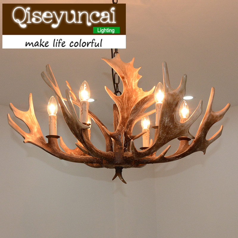 Qiseyuncai American country antlers 6 head candles art resin chandeliers clothing stores retro antique lighting