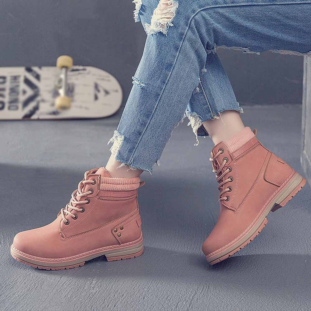 Women Boots Solid Lace Up Casual Ankle Boots Round Toe Shoes Student Snow Boots Classic Winter Warm Ladies Shoes T## 4