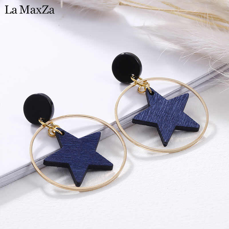 Big Star Earrings For Women Vintage Statement Exaggerated Circles Gold-Color Long Stud Earrings Girls Korean Fashion Jewelry