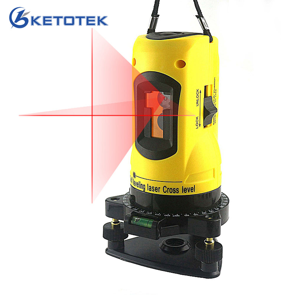KETOTEK Laser Level Household 2 Lines Cross 360 Rotary Cross Laser Line Self Leveling Laser Level with Horizontal Vertical Line 1pcs ak435 360 degree self leveling cross laser level 2 line 1 point rotary horizontal vertical red laser levels cross laser