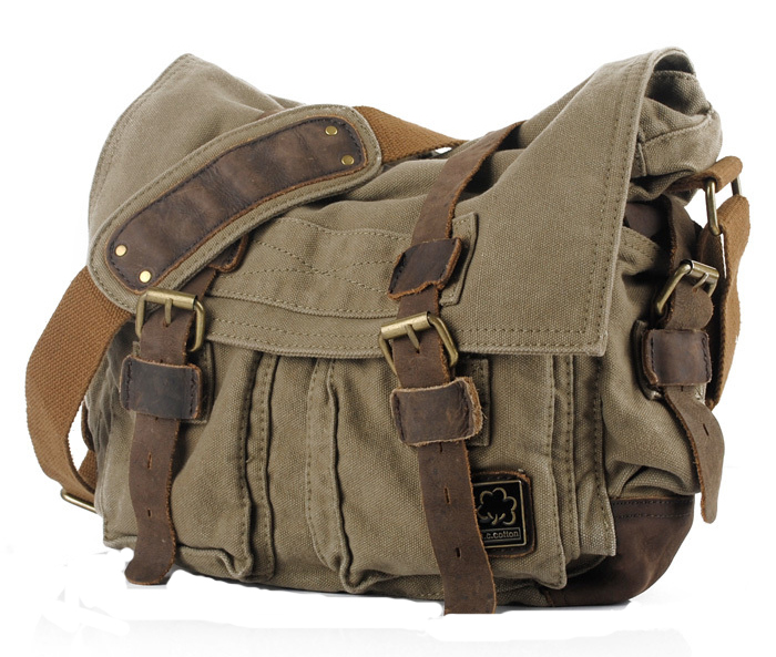Men Vintage Style Canvas Leather Satchel School Military Shoulder Messenger Bag Fit for 17 inch Laptop Large Size