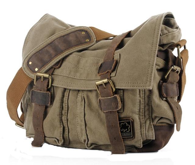 Men Vintage Style Canvas Leather Satchel School Military Shoulder Messenger Bag Fit For 17 Inch Laptop