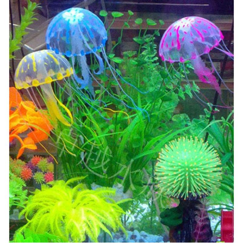 "Real Acuarios Hot Selling! 5.5"" Glowing Effect Artificial Jellyfish For Aquarium Fish Jar Tank Ornament Swim Decoration On Sale"