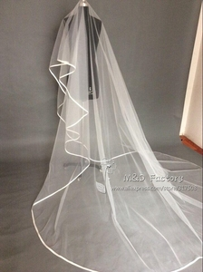 Image 4 - Real Photo White/Ivory Two Layer Wedding Veil 3m Ribbon Edge Mantilla Bridal Veil Of Bride Wedding Accessories Veu De Noiva 45