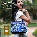 Sacos bordados Étnicos Nacionais do estilo Chinês do vintage Bordado bolsa de ombro saco da senhora saco de Compras bolsa de Viagem Bolsos Sac Femme