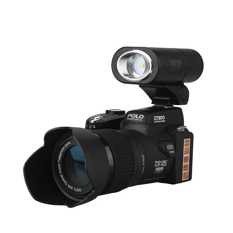 Protax/POLO D7200 33MP 1080P Digital DSLR Camera Body Camera Camcorder+LED Spotlight sony ilce 6000 a6000y a6000 24 3 mp digital camera body