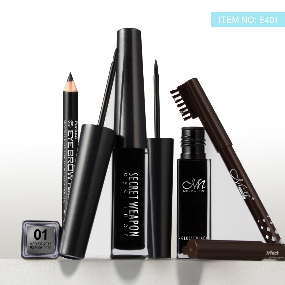 MENOW Brand Waterproof Liquid Eyeliner gift black and brown pencil Long lasting for up to 24 hours Make up set E401 in Eyeliner from Beauty Health