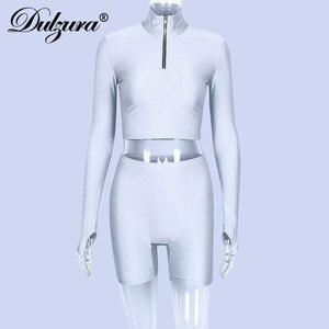 Image 5 - Dulzura 2019 autumn winter women sexy long sleeve neck zipper crop top high waist stretch shorts workout fitness 2 two piece set