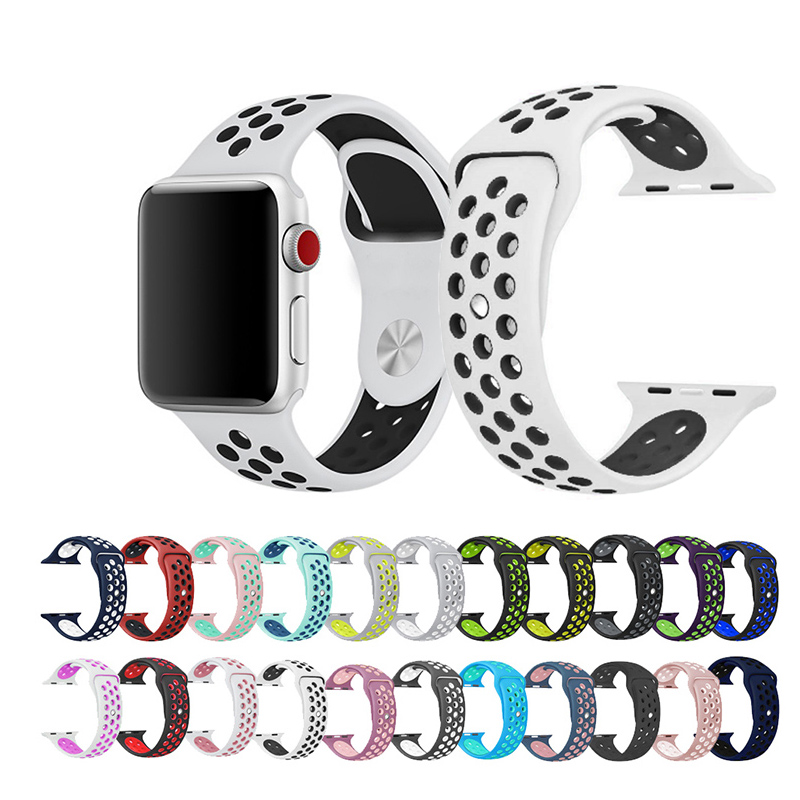 Sport Silicone Watchband Replacement Bracelet Strap For Apple Watch 4 44/40mm Compatible For IWatch Series 3/2/1 42/38mm Band