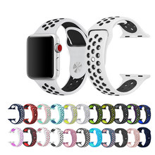 Correa de pulsera deportiva de silicona para Apple watch 5 4 44/40mm Compatible con iWatch series 3/2/1 42/38mm(China)