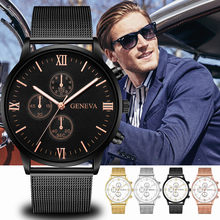 men watches Luxury Geneva Minimalist Bracelet Hand Mesh Slim Wrist Lady Ultra thin Gold Steel Watch for mens heren horloge 618(China)