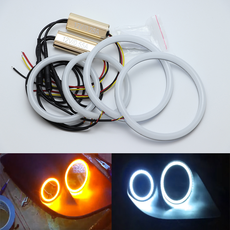 For Fiat Coupe 1993 1994 1995 1996 1997 2000 White Amber Dual color Cotton LED Angel