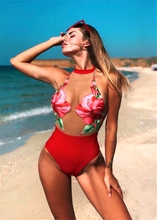 Phaixoneible New One Piece Swimwear Women Monokini Sexy Swimsuit Net Bathing Suit Floral Beachwear