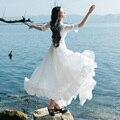 Feminino longo branco vestido longo 2016 nova moda das mulheres de verão de manga curta vestido de chiffon vestido pescoço