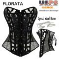 FLORATA Hot Sale Good Quality Spiral Steel Boned Black Mesh Waist Trainer Body Shaper Overbust Corset Bustier