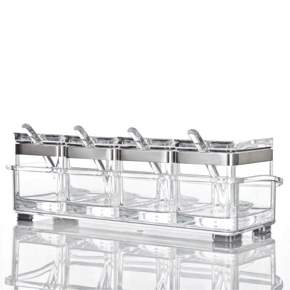 Set of 4pcs Acrylic Square Glass Spice Jar Glass Cruet Salt Shaker