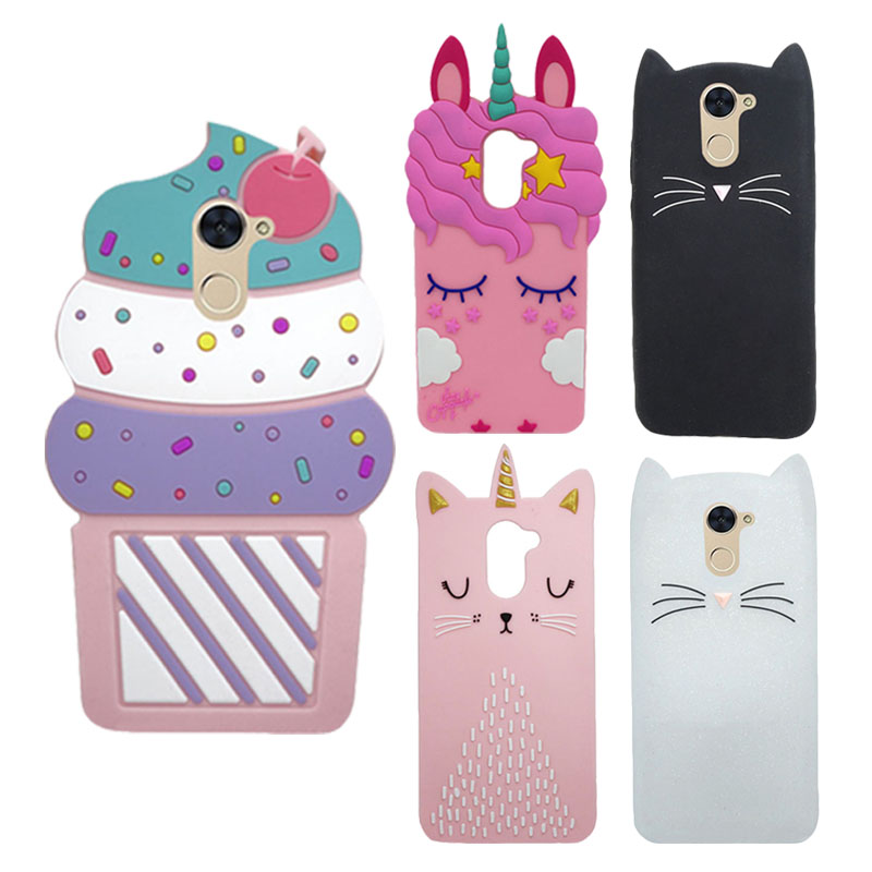 Cute 3D Cartoon Case For Huawei Y7 2017 Unicorn Cat Soft Silicone Back Cover Phone Cases For Huawei Y7 Y 7/Y7 Prime Case Cover