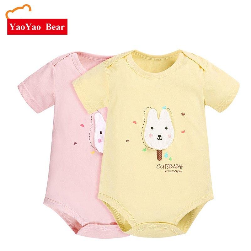 2 stuks / set baby body's pasgeboren jongen zomer kleding jumpsuits - Babykleding