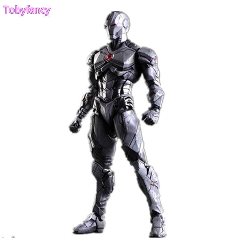 Iron Man Play Arts Kai Silver Ver. Avengers Action Figure Ironman PVC Toy 25cm Anime Movie Iron Man Playarts Kai Superhero Doll