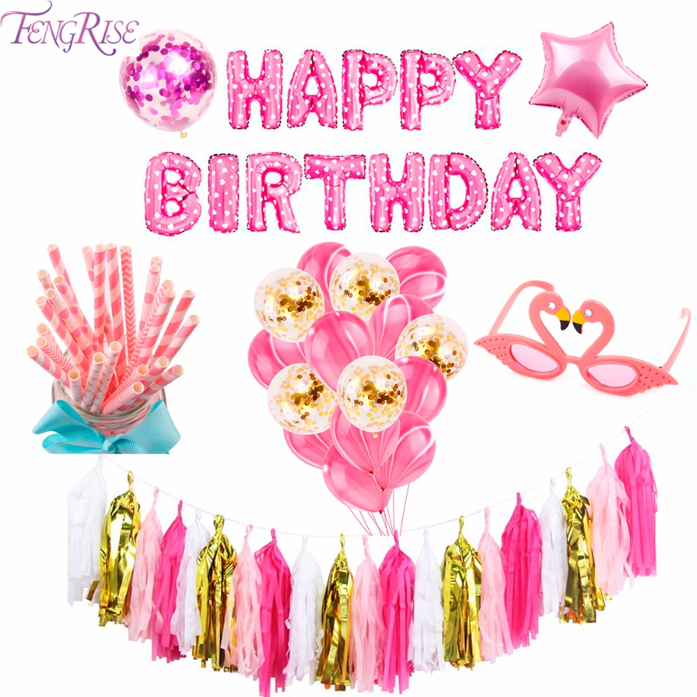 FENGRISE Pink Party Decoration First Happy Birthday Party Decor Its A Girl Baby Shower Favors Gifts for Kids Birthday Supplies in Party Favors from Home Garden