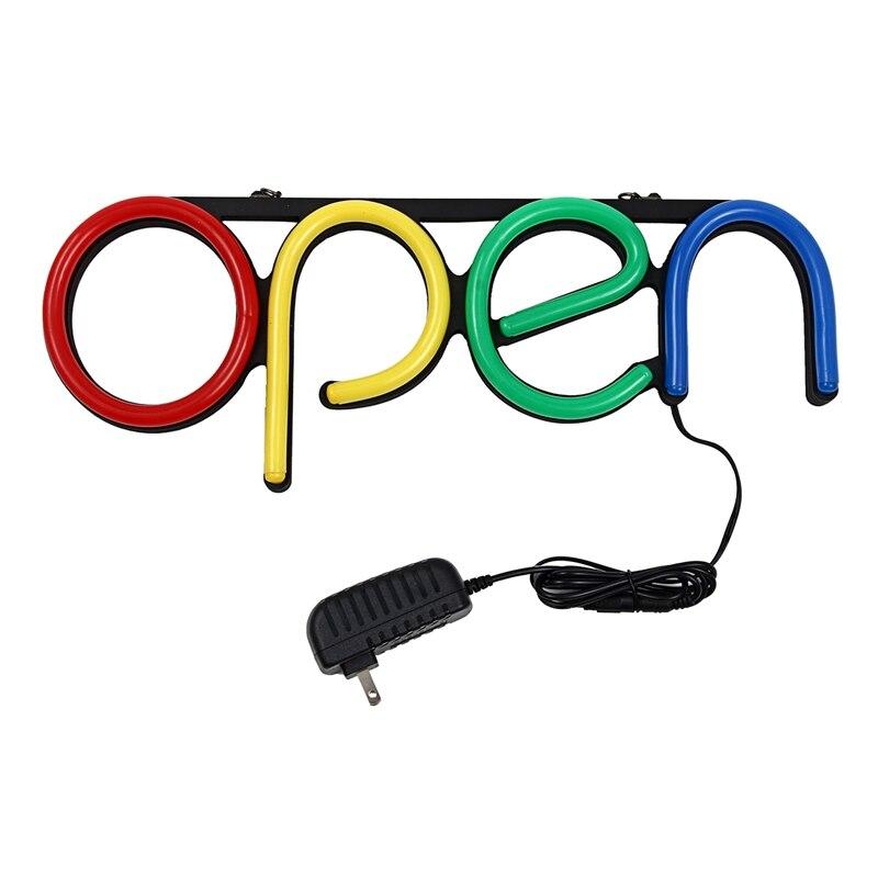 US Plug 16 pouces enseigne au néon ouverte Tube de lumière LED à la main illustration visuelle Bar Club KTV décoration murale éclairage Commercial Colorfu