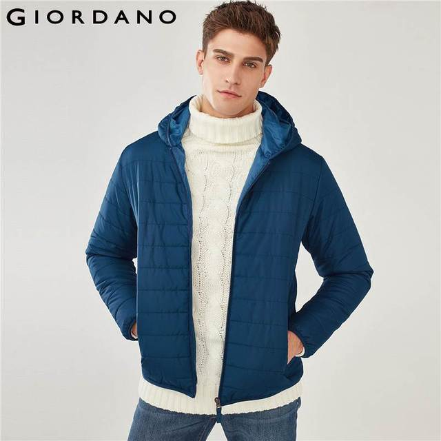 Cheap Giordano Men Jacket Men Solid Long Sleeves Winter Jacket Men Hooded Quilted Jacket Pocket Banded Cuffs Casual Jaqueta Masculina