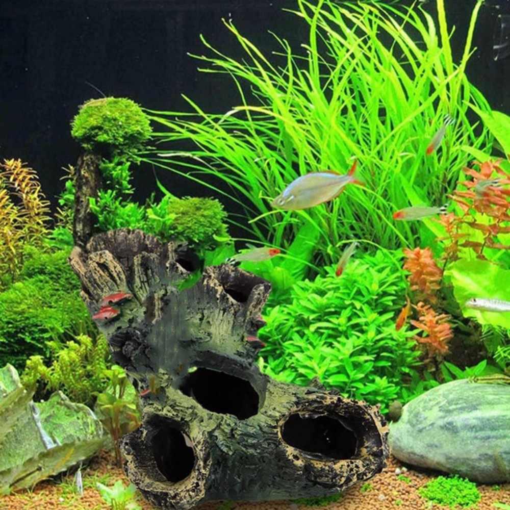Artificial Tree Stump Roots Moss Aquarium Aquascaping Fish Shrimps Shelter Hiding Spot Fish Tank Decorations For Aquarium Decor Decorations Aliexpress