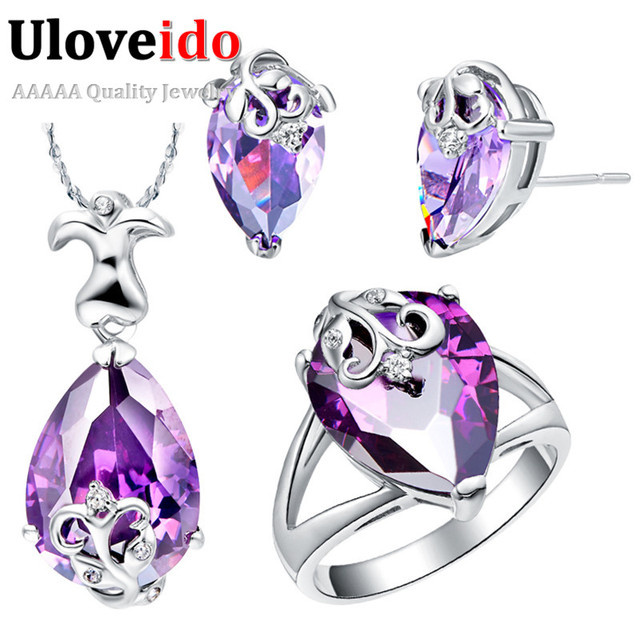 Uloveido Silver Plated Women Purple Blue Water Drop Flower Girl Jewelry Sets Wedding Earrings Necklace Rings Bijuterias T080