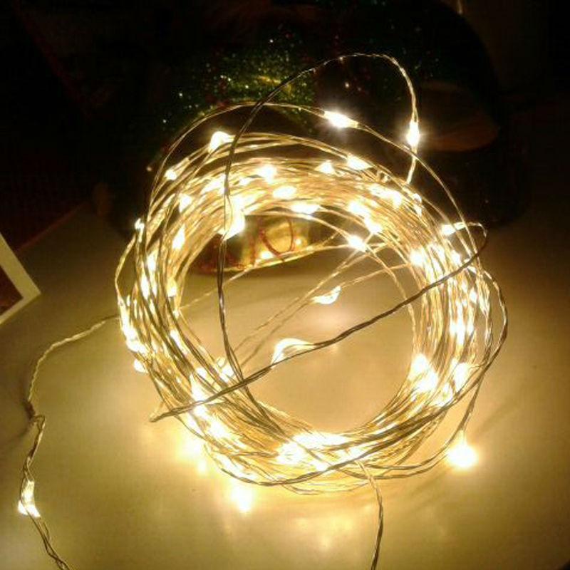 Nový příjezd 33 stop 10 m 100 LEDS 4,5V stříbrná měď LED LED - Pro svátky a večírky
