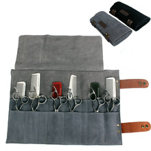 Real Leather Hair Stylist Professional Barber Scissor Pouch Cases Salon Hairdresser Scissors Tool Holster Folding Bag 12 Pockets
