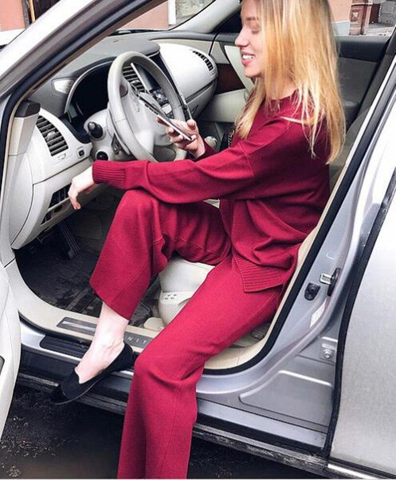 Chandail gris 2018 rouge Costume Hiver Rond De Tricot pièce Deux Et Pantalon Laine Tenues Femmes Col Vente Minimaliste Limitée Pull Élégant Kaki 1RSqw17pn