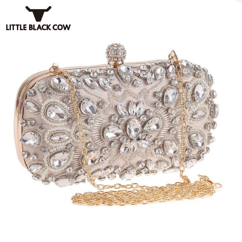 Women Bling Bling Rhinestone Beads Evening Bag Party Packing Small Clutch Bags Ladies Dress Diamonds Handbag Chain Shoulder Bag