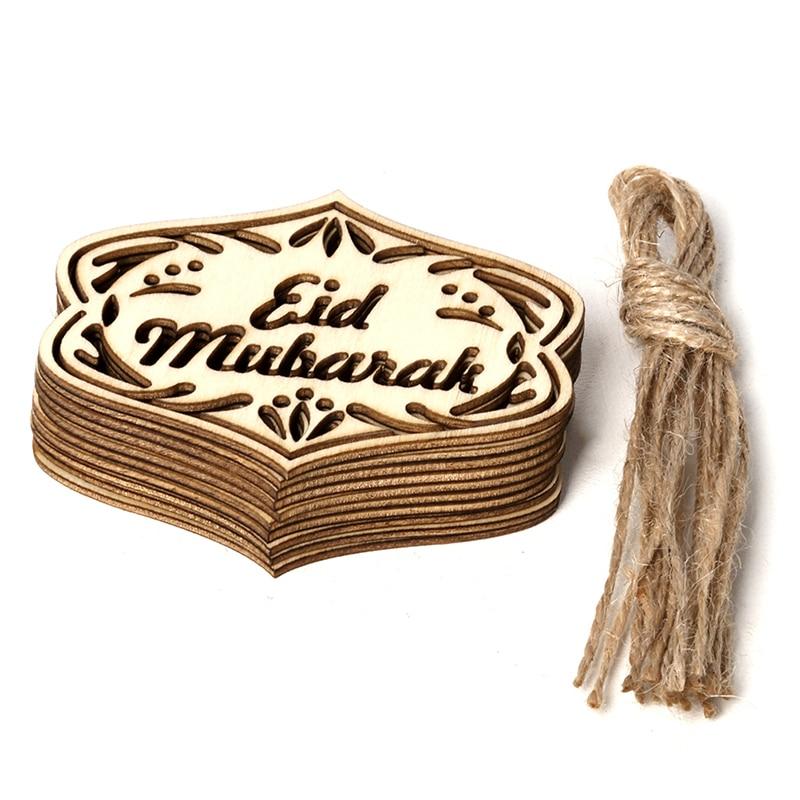 10pcs/set DIY Eid Mubarak Muslim Home Decoration Ramadan Decor Pendant Wooden Hollow Ornament Crafts Activities Gifts With Ropes