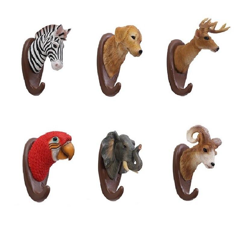 Creative Animal Head Hook Multi-Purpose Wall Hook Purse Key Holder Kitchen Hooks Bathroom Hanger Home Decorative Hooks
