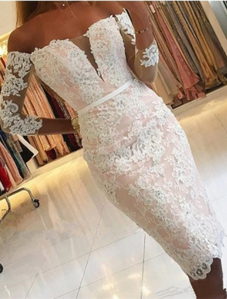 Elegant 2019 Cocktail Dresses Sheath Sleeves Lace Beaded Knee Length Short Party Homecoming Dresses