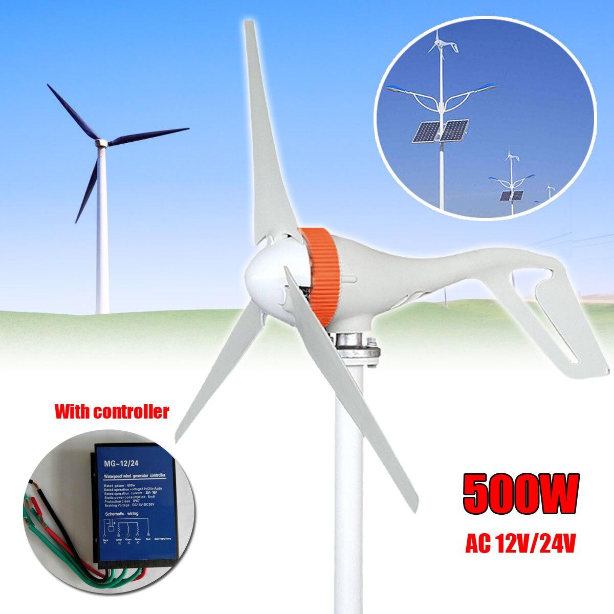 AC 12 v/24 v 500 w 3 Lames Vent Générateur Mini Vent Turbines Miniature Vent Turbines Générateur Avec contrôleur pour un usage domestique