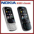 Original Unlock Nokia 6303C  Mobile Phone black and silver color Support Russian or Arabic keyborad Good quality !
