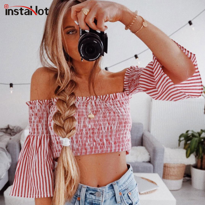 InstaHot 2018 New Style Ruched Summer Blouse Top Women Off Shoulder Striped Half Flare Sleeve Pleated Shirt Stretch Crop Top