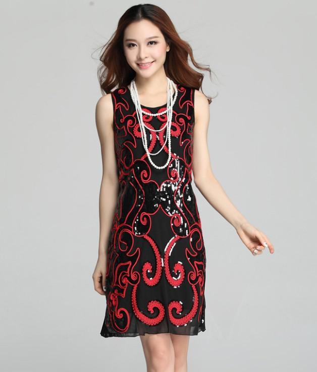 Вышивка блесток размера плюс сексуальные винтажные Элегантные дешевые короткие женские черные летние Коктейльные платья Coctail платье платья для вечеринок - Цвет: blackred